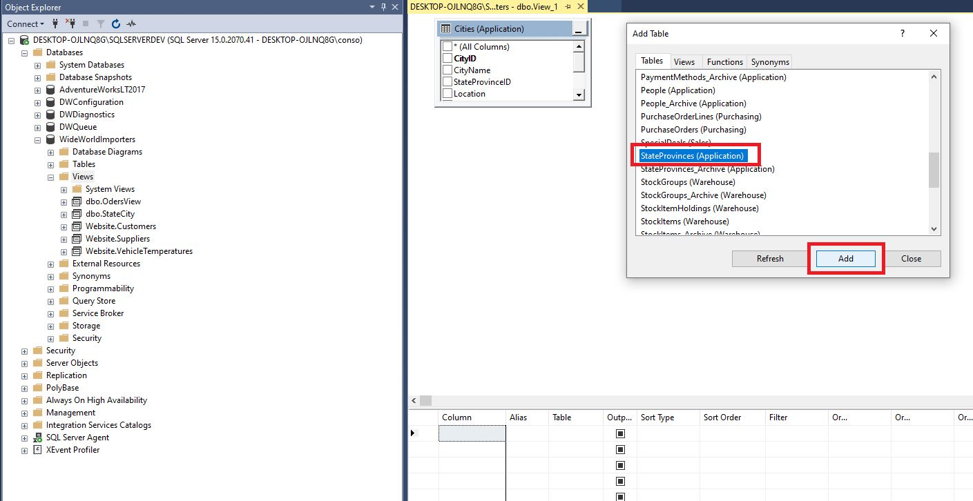 Creating view in ssms Step 3
